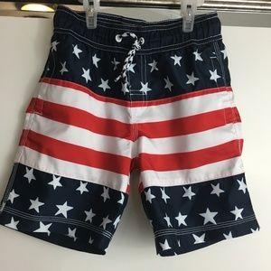 Gymboree S 4-6 USA Flag Board Swim Trunks